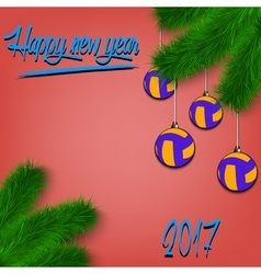 Volleyball balls on christmas tree branch vector
