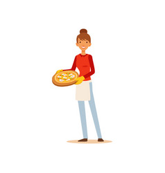 young woman holding a pizza housewife girl vector image