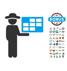 Agent schedule icon with 2017 year bonus vector