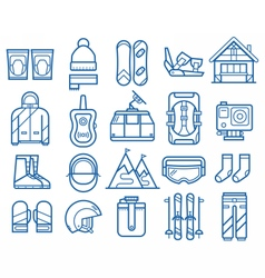 Snowboarding and skiing icons vector
