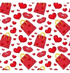 Cute pattern valentines day with gift bag vector