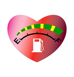 Fuel gage meter heart shape vector