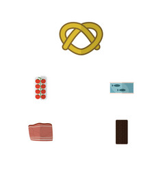 Flat icon eating set of tomato confection cookie vector