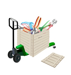 Pallet truck loading craft tools in shipping box vector
