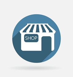 Shop building circle blue icon with shadow vector