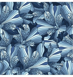 Seamless blue alstroemeria flowers background vector