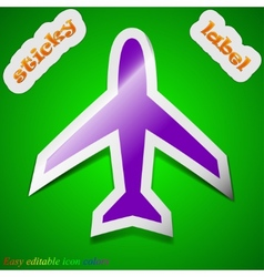 Airplane icon sign symbol chic colored sticky vector