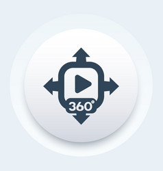 360 degrees panoramic video icon sign vector