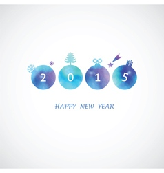 Four blue shades water color circle with 2015 vector