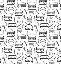 Seamless monochrome pattern burgers and fries vector