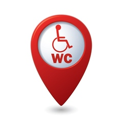 Red map pointer with restroom icon vector