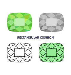 Rectangular cushion gem cut vector