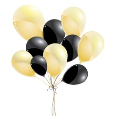 Gold and black balloons isolated on black vector image
