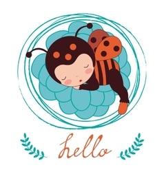 A beautiful ladybug baby card vector image vector image
