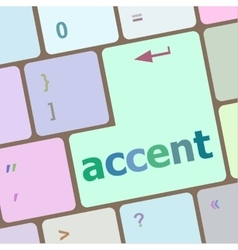 Accent on computer keyboard key enter button vector