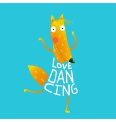 Cartoon orange fox in dress text love dancing vector