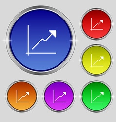 Chart icon sign round symbol on bright colourful vector