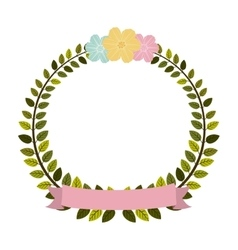 Colorful arch of leaves with pastel flowers and vector
