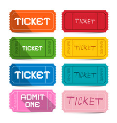 Colorful paper movie tickets set isolated on vector
