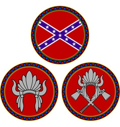 confederate flag and indian headdress vector image vector image
