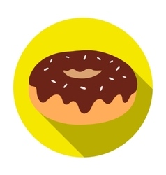 Donut with chocolate glaze icon in flat style vector image