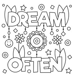 Dream often coloring page vector
