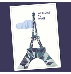 Eiffel tower in low poly style vector