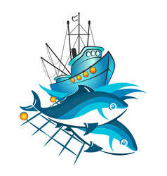fishing vessel and fish in networks vector image