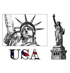 freedom statue vector image vector image