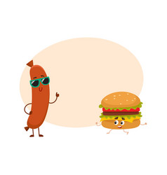 Funny smiling sausage and hamburger characters vector