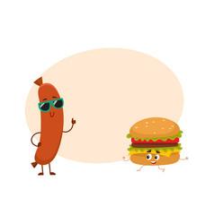 funny smiling sausage and hamburger characters vector image vector image