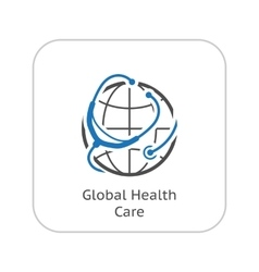 Global health care icon flat design vector