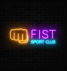glowing neon fighting sport club sign on dark vector image