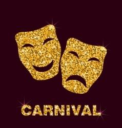 Golden Glittering Carnival Mask vector image