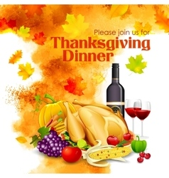 Happy Thanksgiving dinner celebration vector image vector image