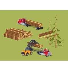 Lumber stock logs loading on trucks vector