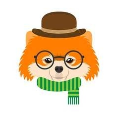 Portrait of pomeranian dog with glasses and hat in vector