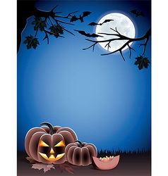 pumpkin night moon halloween vector image