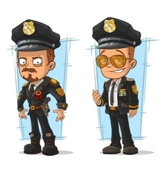 Set of cartoon cops in black uniform vector