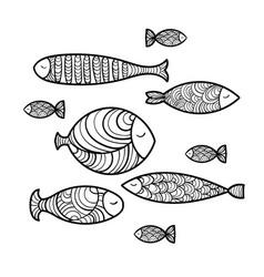 Set of cute sea fish vector