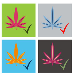set of flat hand drawn color botanical of hemp vector image vector image