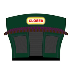 Shop is closed glow plaque on facade of store shop vector