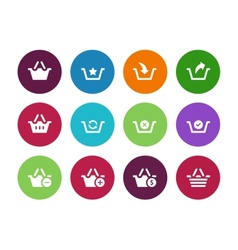 Shopping basket circle icons on white background vector