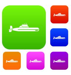 Submarine set collection vector