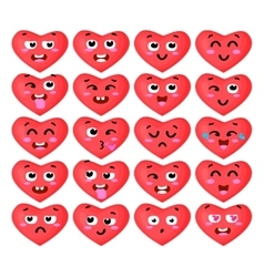the set heart emoticons vector image vector image