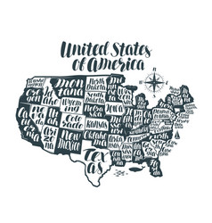 Usa map country united states of america vector