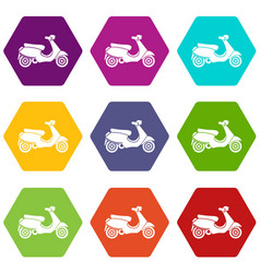 Vespa scooter icon set color hexahedron vector