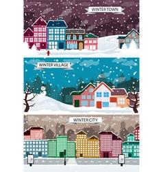 Winter urban landscapes set vector