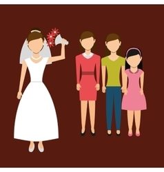 Woman throwing wedding bouquet vector