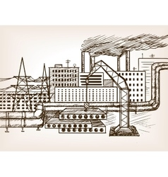 Industrial landscape sketch vector